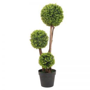 Buxus mereu verde cu 3 sfere si trunchi de lemn