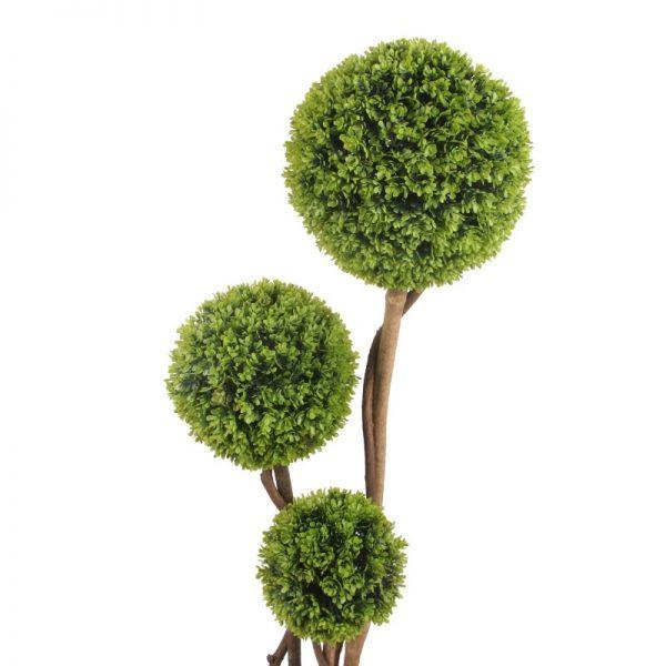 Buxus inalt artificial cu 3 globuri. Arbusti artificali de ornament